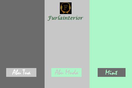 kombinasi warna abu tua, abu muda dan hijau mint