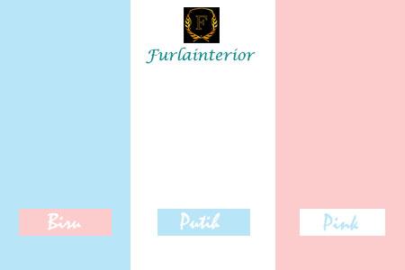 kombinasi warna cat biru, putih dan pink